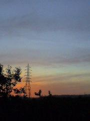 黄昏れ電信柱